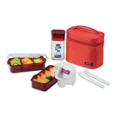 Lock & Lock 3Pcs Lunch Box Set With Red Bag