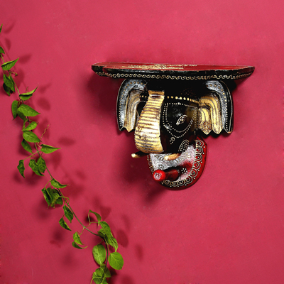 Aapno Rajasthan Red And Black Elephant Head Wall Mount With Hook