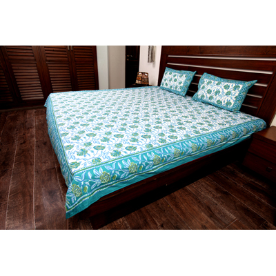 Jodhaa Double Bedsheet Set In Cotton Printed In White Blue And Green Colour