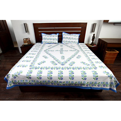 Jodhaa Double Bedsheet Set In Cotton Printed In White Dark Blue Light Blue And Green Colour