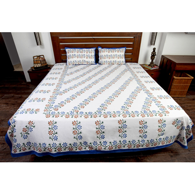 Jodhaa Double Bedsheet Set In Cotton Printed In White Blue Green And Brown Colour