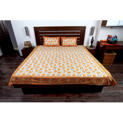 Jodhaa Double Bedsheet Set In Cotton Printed In Plain White Blue And Brown With Blue Border