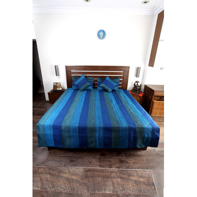 Jodhaa Double Bed Cover Set In Art Silk In Grey And Blue