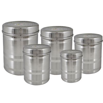 Tough Duroware 5 Pcs Stainless Steel Deep Containers